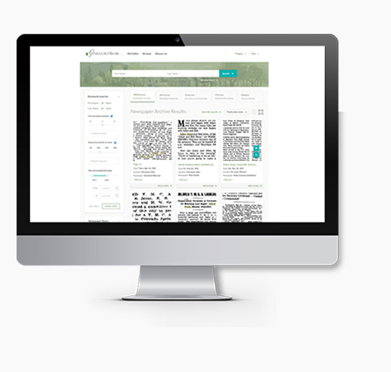 iMac showing a page from GenealogyBank.com