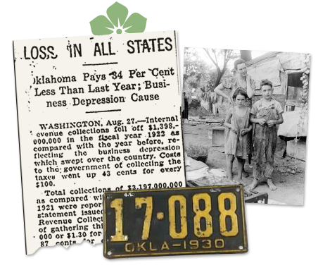 Oklahoma Newspaper clip and photo of old license plate